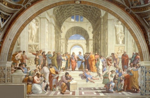 "Raphael: The  School of Athens. ""Sanzio 01"" by Raphael - Stitched together from vatican.va. Licensed under Public domain via Wikimedia Commons - http://commons.wikimedia.org/wiki/File:Sanzio_01.jpg#mediaviewer/File:Sanzio_01.jpg"